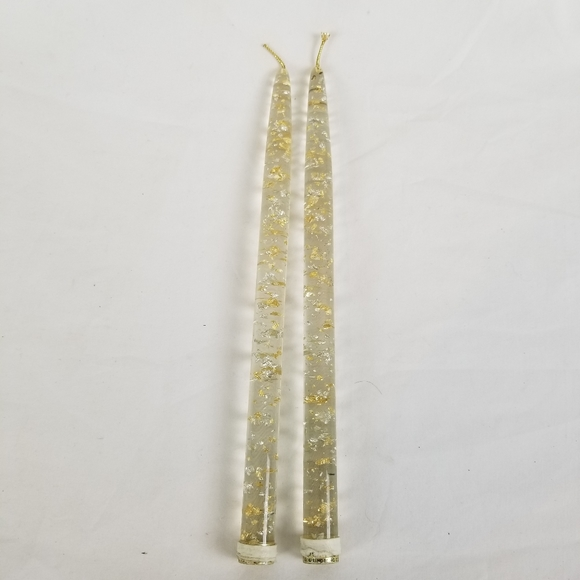 MCM Lucite Clear Gold Sliver Flake Acrylic Candle